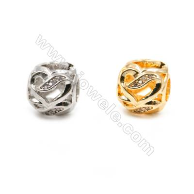 Brass Charms (Gold Platinum)Plated  CZ Micropave  Irregular Round  Size 10x11mm  20pcs/pack