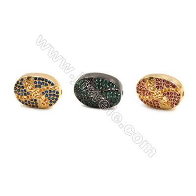 Brass Charms (Gold Platinum)Plated  CZ Micropave  Oval  Size 11x16mm  Thick 5mm  Hole 1mm  6pcs/pack