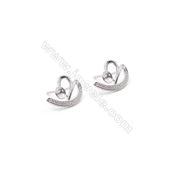 Wholesale supplies 925 silver platinum plated zircon micro pave ear stud findings for half drilled beads  11x16mm x 1pair