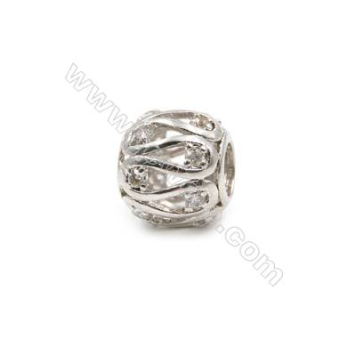 Brass Charms White Gold  CZ Micropave  Hollow lantern  Size 10x11mm  Hole 5mm  10pcs/pack