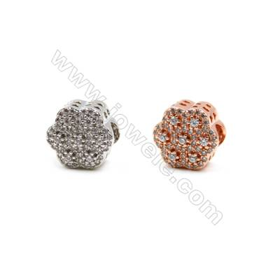 Brass Charms (Rose Gold Platinum)Plated  CZ Micropave  Flower  Size 11x11mm  Thick 7mm  6pcs/pack