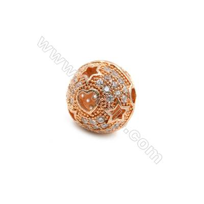 Brass Charms Rose Gold  CZ Micropave  Lantern  Size 10x11mm  Hole 3mm  10pcs/pack