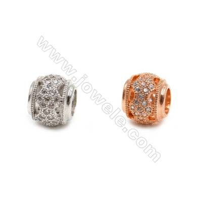 Brass Charms (Rose Gold Platinum)Plated  CZ Micropave  Barrel  Size 9x10mm  10pcs/pack