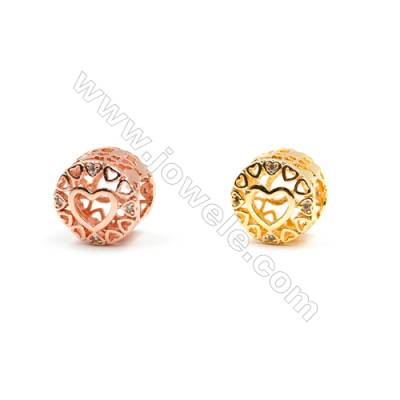 Brass Charms (Gold Rose Gold)Plated  CZ Micropave  Column  Size 9x11mm  25pcs/pack