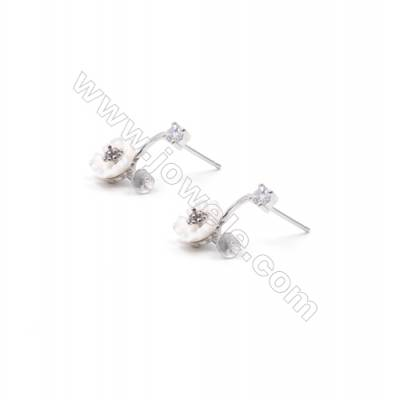 Platinum plated 925 sterling silver Ear Stud Findings  CZ micro  tray for half drilled beads  8x15mm x 1pair tray 4mm pin 0.5mm