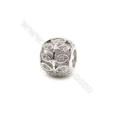 Brass Charms White Gold  CZ Micropave  Hollow lantern  Size 10x9mm  Hole 5mm  10pcs/pack