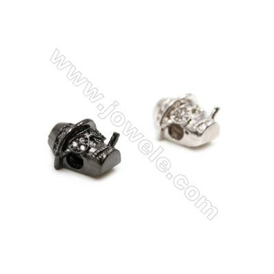 Brass Charms (Gun Black Platinum)Plated  CZ Micropave  Skull  Size 11x17mm Thick 7mm  20pcs/pack