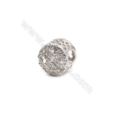 Brass Charms White Gold  CZ Micropave  Cylindrical  Size 10x9mm  Hole 5mm  10pcs/pack