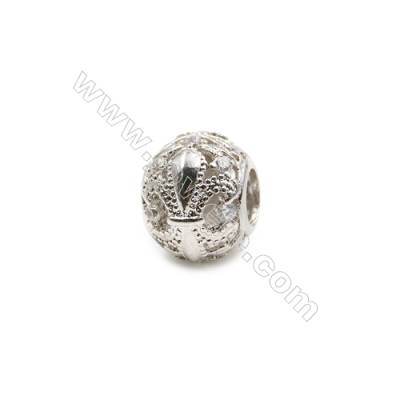 Brass Charms White Gold  CZ Micropave  Hollow Lantern  Size 10x12mm  Hole 5mm  20pcs/pack