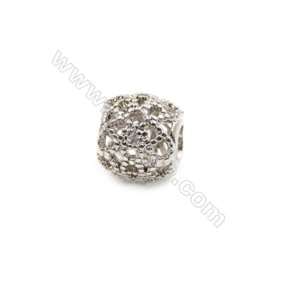 Brass Charms White Gold  CZ Micropave  Hollow Lantern  Size 10x11mm  Hole 5mm  20pcs/pack