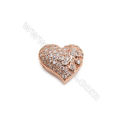 Brass Plated Rose Gold Charms  CZ Micropave  Heart  Size 12x13mm  Hole 1.5mm  10pcs/pack