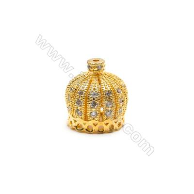 Brass Plated Gold Charms  CZ Micropave  Crown  Size 12x13mm  Hole 0.8mm  15pcs/pack