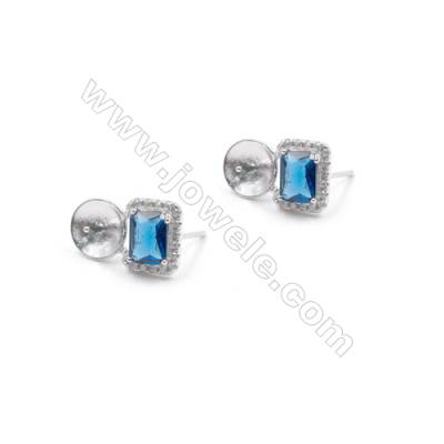 Blue zircon platinum plated 925 silver ear stud findings for half drilled beads jewelry findings 9x15mm x 1pair