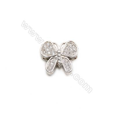 Brass Plated Platinum Charms  CZ Micropave  Butterfly  Size 10x12mm  Hole 1.5mm  10pcs/pack