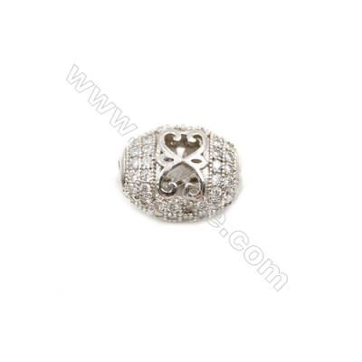 Brass Plated Platinum Charms  CZ Micropave  Oval  Size 10x13mm  Hole 1.5mm  8pcs/pack