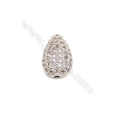 Brass Plated Platinum Charms  CZ Micropave  Water drops  Size 8x12mm  Hole 1mm  8pcs/pack