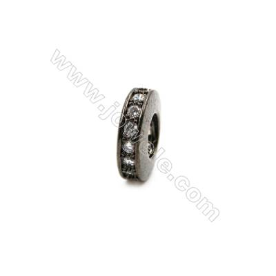 Brass Plated Gun Black Spacer Beads  CZ Micropave  Diameter 11mm  Thick 4mm  Hole 5.5mm  15pcs/pack