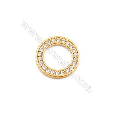 Brass Plated Gold Spacer Beads  CZ Micropave  Diameter 14mm  Thick 1.8mm  Hole 9mm  10pcs/pack