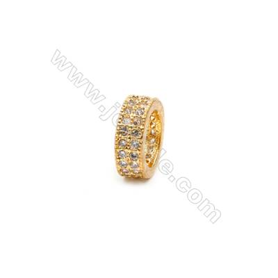 Brass Plated Gold Spacer Beads  CZ Micropave  Diameter 9mm  Thick 3.5mm  Hole 6.5mm  10pcs/pack