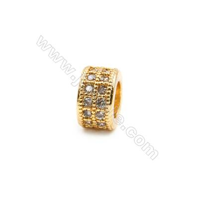 Brass Plated Gold Spacer Beads  CZ Micropave  Diameter 9mm  Thick 5mm  Hole 5mm  15pcs/pack