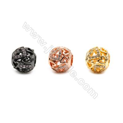 Brass Charms (Gold Rose Gold Gun Black) Plated  CZ Micropave  Tube  Size 9x11mm  15pcs/pack