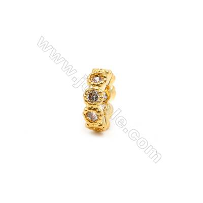 Brass Spacer Beads  (Gold Rose Gold) Plated  CZ Micropave  Diameter 8mm  Thick 3mm  Hole 4mm  20pcs/pack