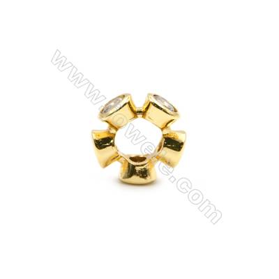 Brass Plated Gold Spacer Beads  CZ Micropave  Diameter 11mm  Thick 4mm  Hole 5mm  25pcs/pack