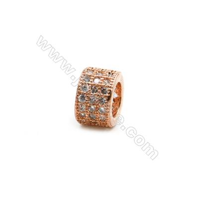 Brass Plated Rose Gold Spacer Beads  CZ Micropave  Diameter 8mm  Thick 5mm  Hole 5mm  6pcs/pack