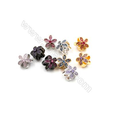 Brass Charms  (Gold  Platinum Gun Black) Plated CZ Micropave  Flower  Size 11x11mm  Thick 8mm  10pcs/pack