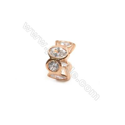 Brass Plated Rose Gold Spacer Beads  CZ Micropave  Diameter 10mm  Thick 5mm  Hole 5mm  6pcs/pack