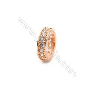 Brass Plated Rose Gold Spacer Beads  CZ Micropave  Diameter 10mm  Thick 3mm  Hole 1mm  20pcs/pack