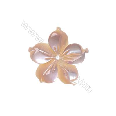 Pink shell five-leaf flower design mother-of-pearl, 15mm, hole 0.8mm, 15pcs/pack