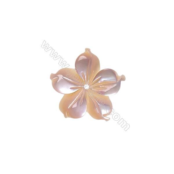 Pink shell five-leaf flower design mother-of-pearl, 15mm, hole 0.8mm, 15pcs/pack