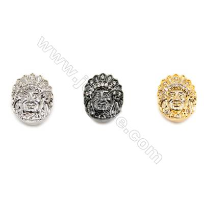 Brass Charms  (Gold Platinum Gun Black) Plated  CZ Micropave  Queen  Size 11x14mm  Hole 1.5mm  Thick 9mm  20pcs/pack
