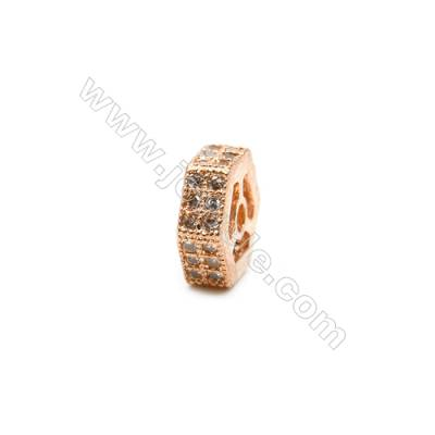 Brass Plated Rose Gold Spacer Beads  CZ Micropave  Size 9x9mm  Thick 3mm  Hole 1.5mm  8pcs/pack