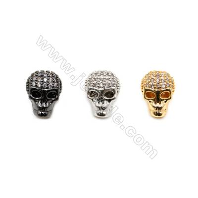 Brass Charms  (Gold Platinum Gun Black) Plated  CZ Micropave  Skull  Size 9x11mm  Thick 9mm  Hole 1.5mm  15pcs/pack