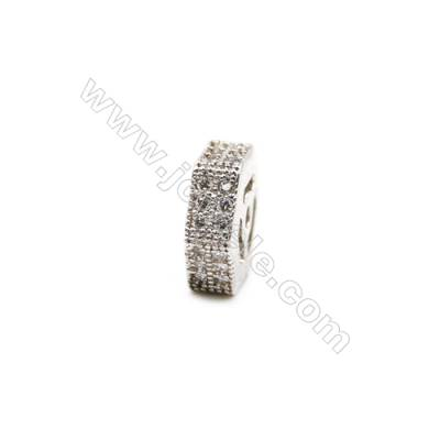 Brass Plated Platinum Spacer Beads  CZ Micropave  Size 9x9mm  Thick 3mm  Hole 1mm  12pcs/pack