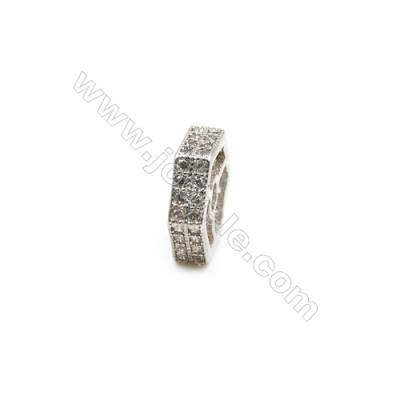 Brass Plated Platinum Spacer Beads  CZ Micropave  Size 12x12mm  Thick 3mm  Hole 2mm  10pcs/pack