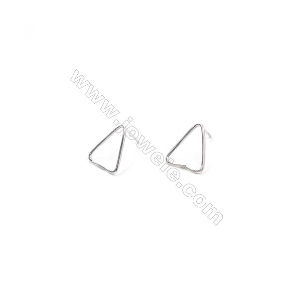 Platinum plated 925 silver triangle ear stud findings for earring making 13x15mm x 1pair