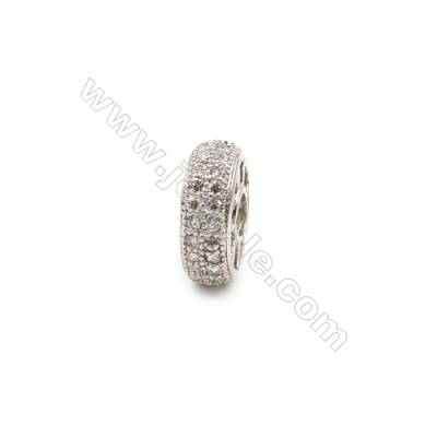 Brass Plated Platinum Spacer Beads  CZ Micropave  Diameter 14mm  Thick 6mm  Hole 4mm  10pcs/pack