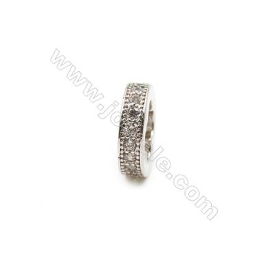 Brass Plated Platinum Spacer Beads  CZ Micropave  Diameter 10mm  Thick 3mm  Hole 7x7mm  15pcs/pack