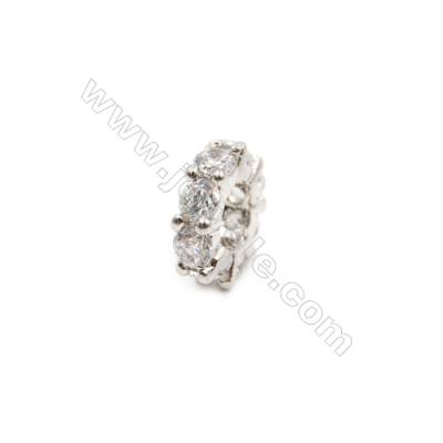 Brass Plated Platinum Spacer Beads  CZ Micropave  Diameter 10mm  Thick 3mm  Hole 5mm  15pcs/pack