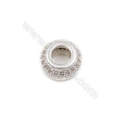 Brass Plated Platinum Spacer Beads  CZ Micropave  Diameter 9mm  Thick 4mm  Hole 4mm  12pcs/pack