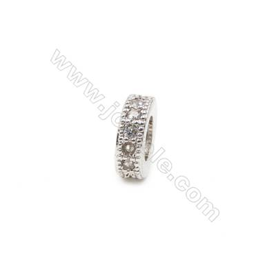 Brass Plated Platinum Spacer Beads  CZ Micropave  Diameter 8mm  Thick 3mm  Hole 4mm  15pcs/pack