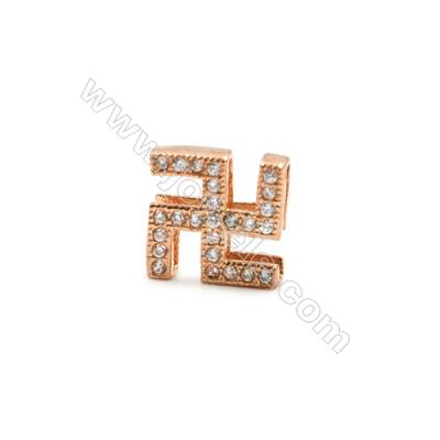 Brass Plated Rose Gold Charms  CZ Micropave  Size 10x10mm  Hole 1mm  15pcs/pack