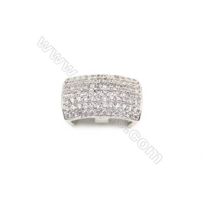Brass Plated Platinum Beads, CZ Micropave, Size 10x17mm, Hole 3x8mm, 6pcs/pack