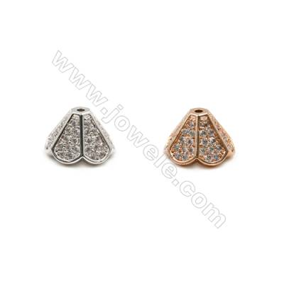 Brass Bead Caps  CZ Micropave Tray  (Platinum Rose Gold)Plated  Size 8x12mm  Hole 1mm  10pcs/pack