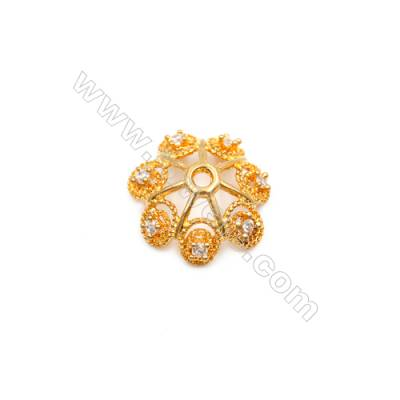 Brass Plated Gold Bead Caps  CZ Micropave Tray  Size 5x12mm  Hole 1mm  15pcs/pack
