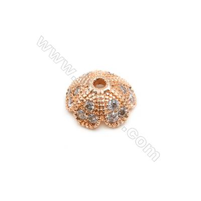 Brass Plated Rose Gold Bead Caps  CZ Micropave Tray  Size 4x10mm  Hole 1mm  15pcs/pack