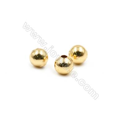 Brass Plated Gold Beads, CZ Micropave, Diameter 5mm, Hole 1.5mm, 700pcs/pack